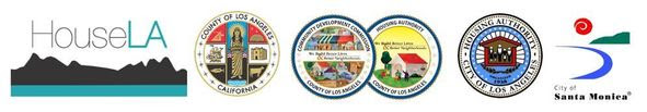 Banner featuring logos for HouseLA, Community Development Commission, the L.A. City Housing Authority and the City of Santa Monica
