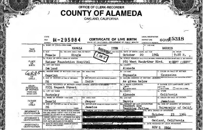 A picture of a portion of Kamala Harris's birth certificate