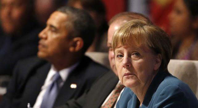 El presidente estadounidense Barack Obama y la canciller alemana Angela Merkel en la sesión inaugural de la Cumbre de Seguridad Nuclear celebrada en La Haya (Holanda).