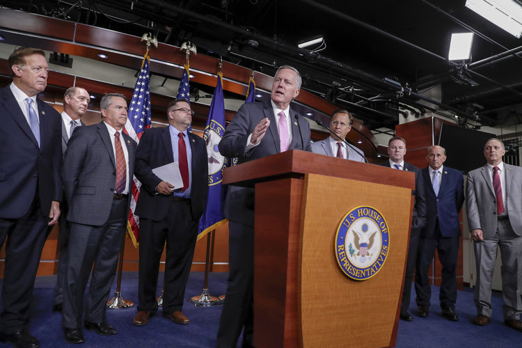 House Freedom Caucus Chairman Rep. Mark Meadows speaks during a news conference on Capitol Hill. (J. Scott Applewhite/AP)
