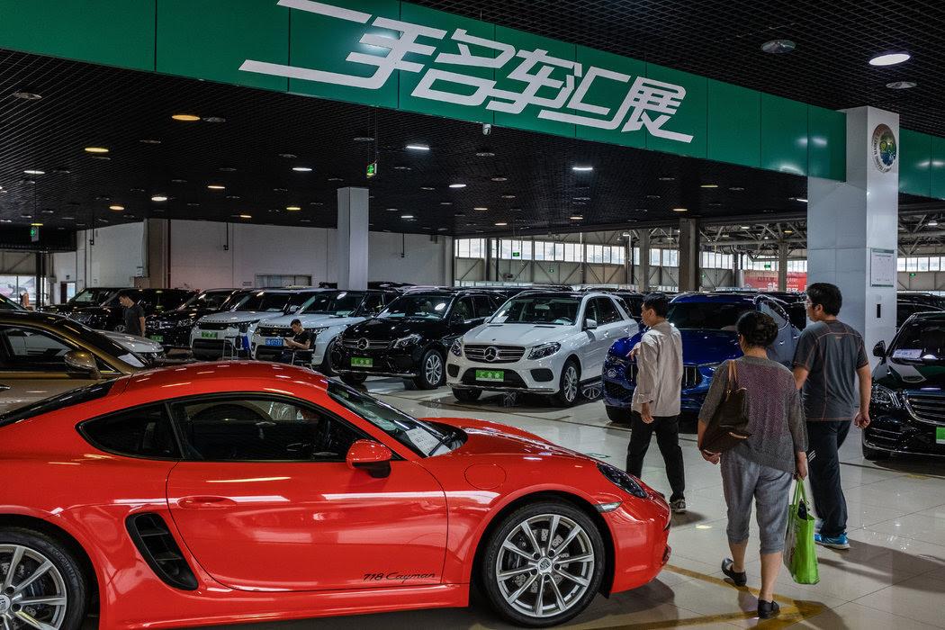 北京的一家二手車經銷商。中國的汽車銷量大幅下滑。