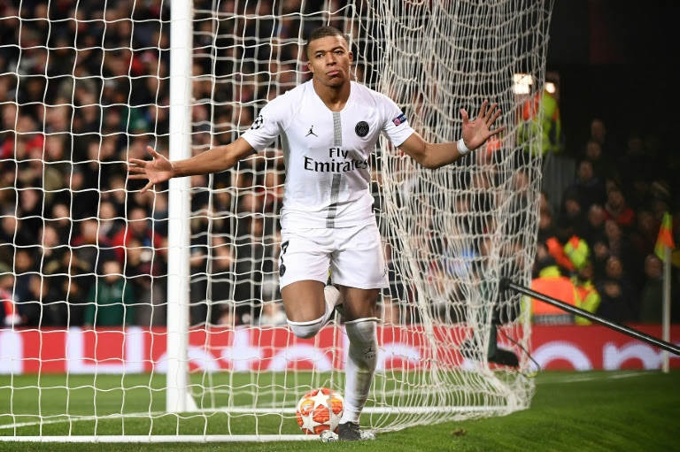 Mbappe caused a lot of troubles for Manchester United and grabbed a goal in Paris Saint-Germain's 2-0 win (AFP)