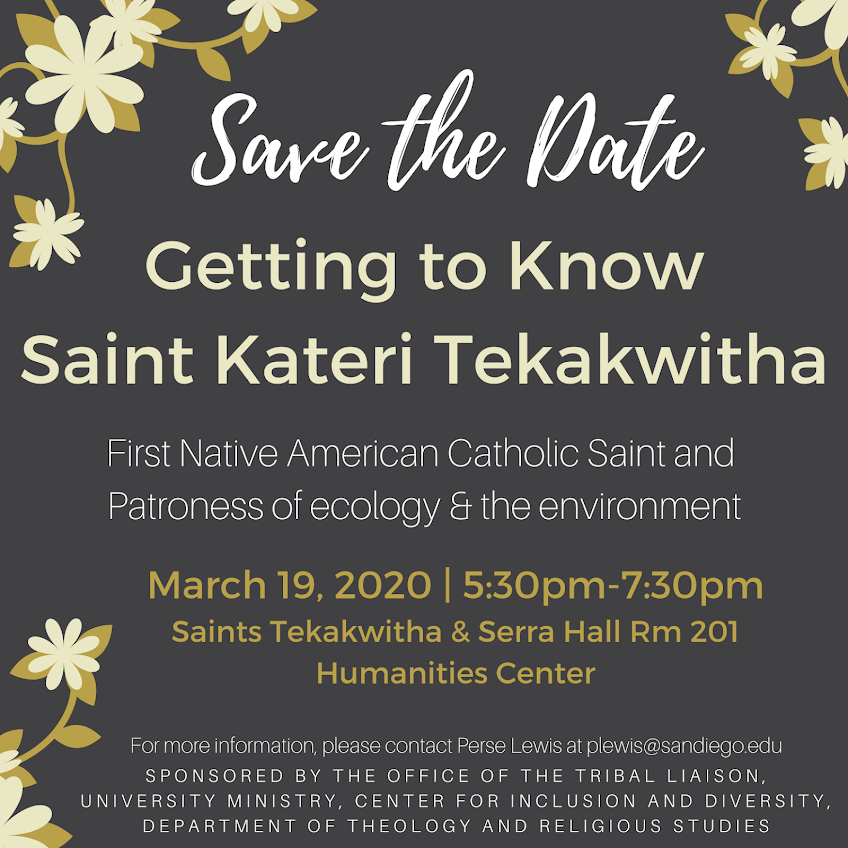 Save the Date: March 19, 2020 - Get to Know Saint Tekakwitha