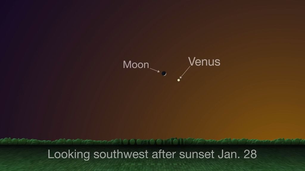 The 'evening star' Venus swings by the crescent moon today. Here's how to see it.