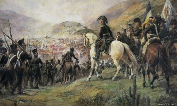El 14 de febrero de 1817 el generalargentino José de San Martín entra triunfal en Santiago de Chile