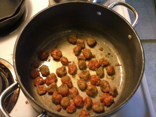 Saute the ground italian sausage.