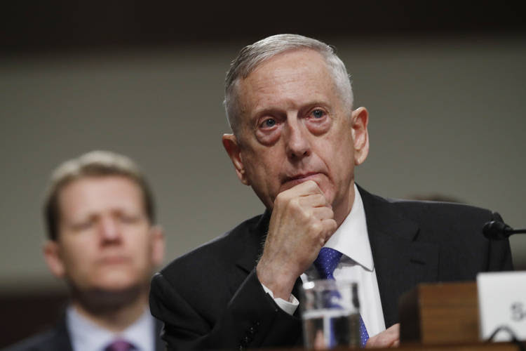 Defense Secretary Jim Mattis listens on Capitol Hill while testifying before the Senate Armed Services Committee. (Jacquelyn Martin/AP, file)