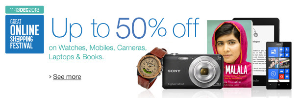 Up to 50% off Watches, Mobiles, Cameras, Laptops, Books, and more.