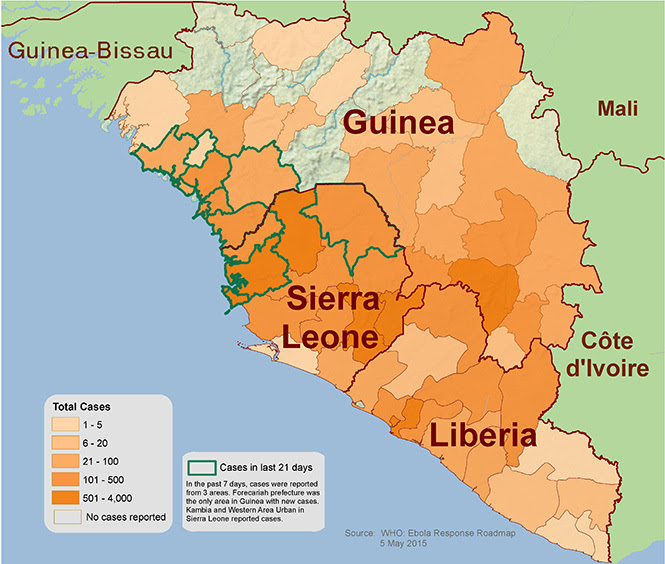 Distribution map showing areas in West Africa reporting suspect cases of Ebola