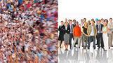 a crowd vs a few people