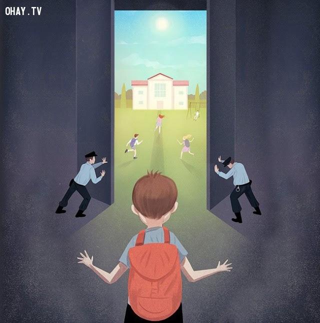 Phụ huynh đều nghĩ rằng an toàn cho trẻ con là giữ chúng cách biệt với thế giới bên ngoài.,xã hội hiện đại,tranh biếm họa