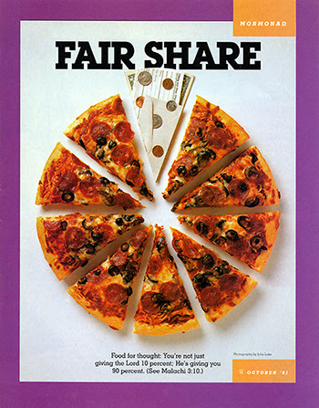 "A photograph of a 10-piece pizza with one piece consisting of a tithing slip, envelope, and money, paired with the words ""Fair Share."""
