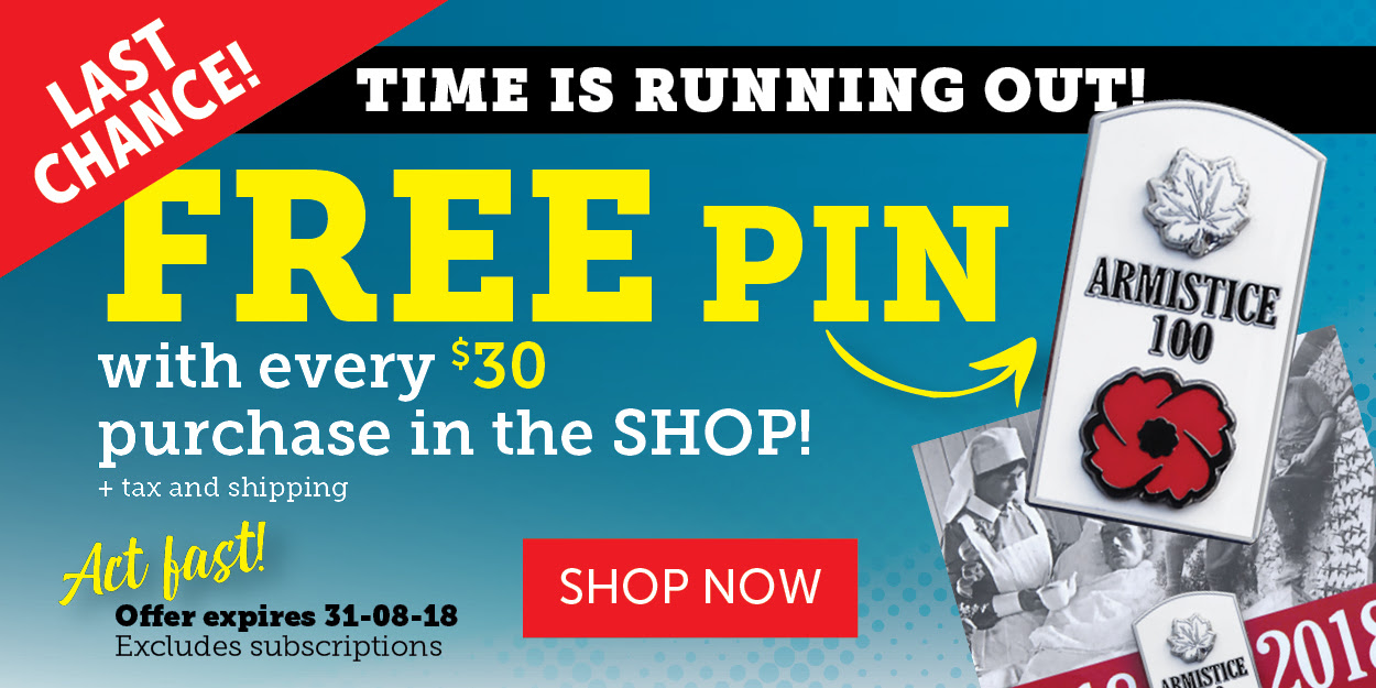 Free WWI Armistice Pin when you spend over $30!