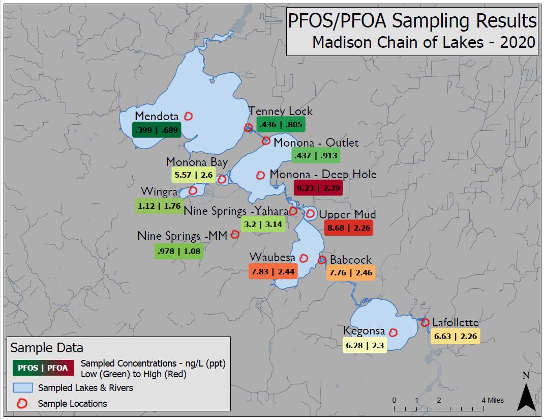 PFOS/PFAS samplings results for Madison Chain of Lakes