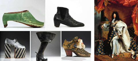 Standing Tall: The Curious History of Men in Heels marks the 20th anniversary of the Bata Shoe Museum. From top left, clockwise: A Persian men's shoe, a John Lennon boot, a 17th-century young gentleman's shoe, another heeled boot from the exhibit and an Elton John platform. By Karen Von Hahn Furthest left is Louis XIV