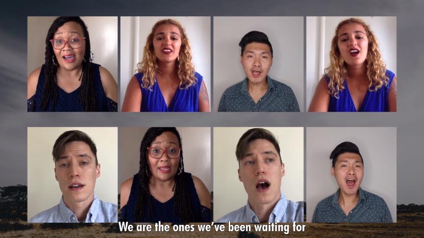 A screenshot of singers from a 2020 GA virtual worship service