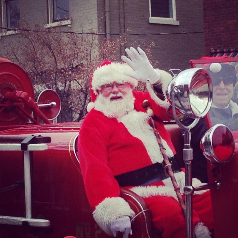 Santa on firetruck