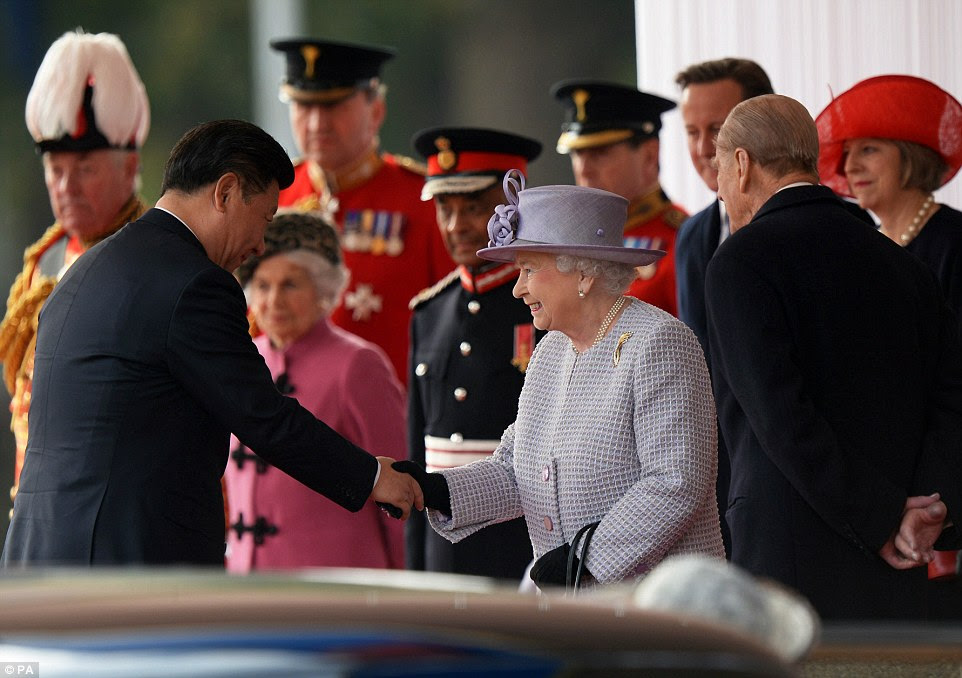 The Queen was joined by the Duke of Edinburgh as she officially welcomed Chinese president Xi Jinping at the Horse Guards Parade