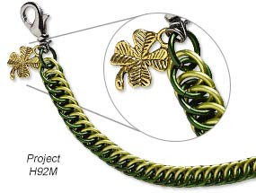 Bracelet with Antique Gold-Finished ''Pewter'' Charm and Anodized Tempered Aluminum Jumprings (project H92M)