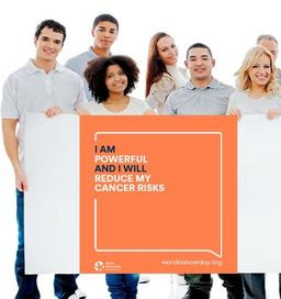 Group of people holding World Cancer Day poster