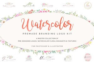 Watercolor Premade Branding Logo Kit