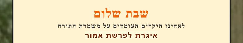 שבת שלוםלאחינו היקרים העומדים על משמרת התורהאיגרת לפרשת אמור