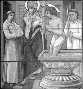 Święty Hilary z Poitiers chrzci św. Marcina z Tours