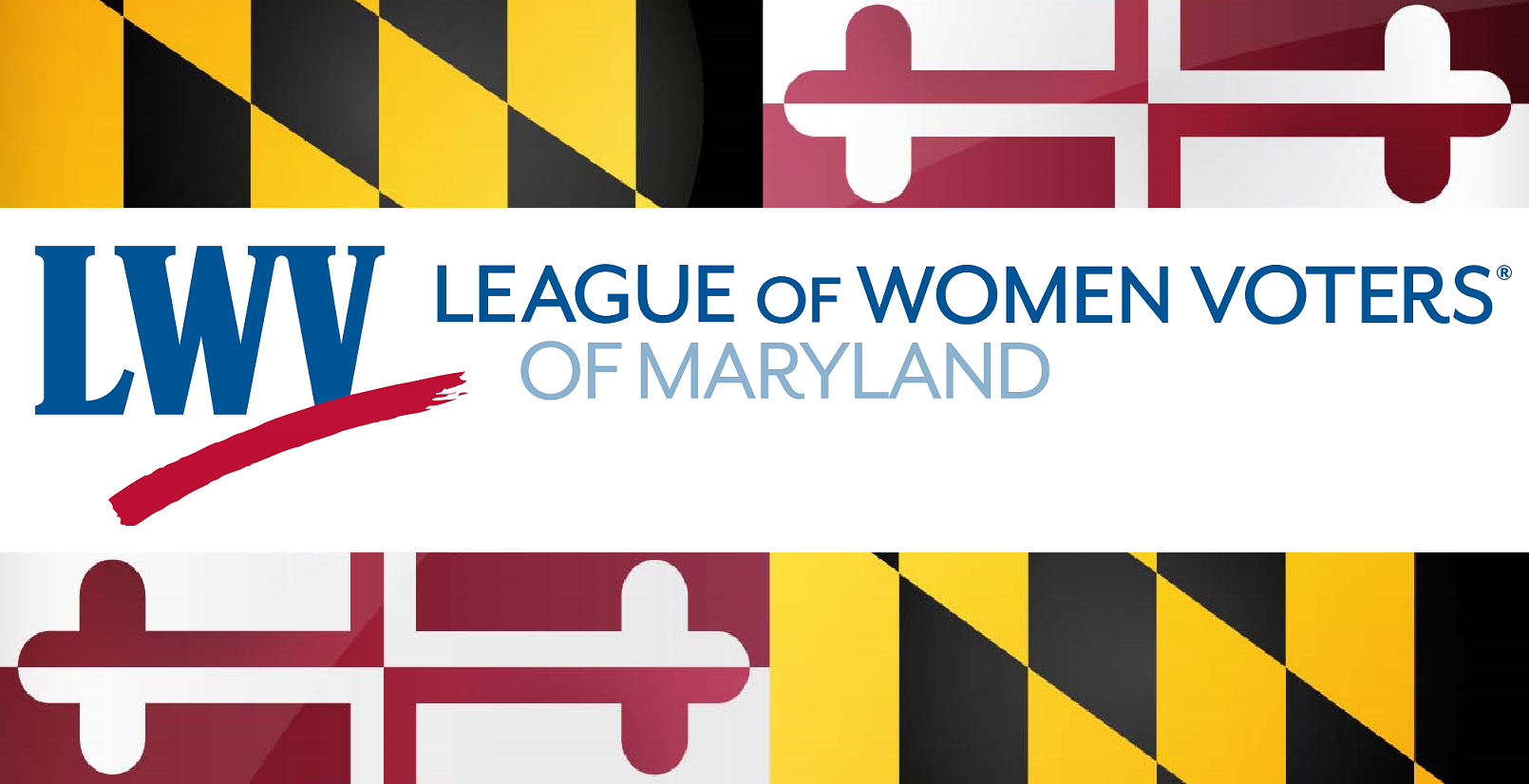 League of Women Voters of Maryland logo with MD flag