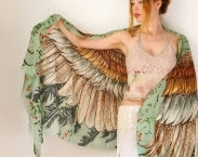 Cotton Green Women scarf, Hand painted Wings and feathers, stunning unique and useful, perfect gift