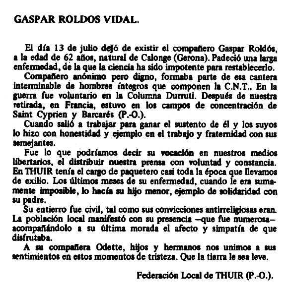 """Necrològica de Gaspar Roldós Vidal apareguda en el periòdic tolosà """"Espoir"""" del 13 d'octubre de 1979"""