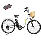 "NAKTO/SPARK 26"" Adult Electric Bicycle for Women [ Local Service 100% Guarantee ] High-Speed Brushless Motor, V Brake, Sporting Shimano 6-Speed Gear, Removable Large Battery Charger"