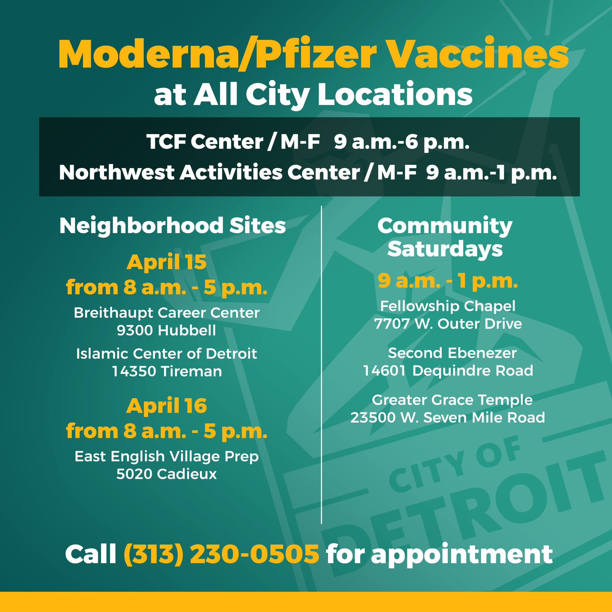 COVID-19 Vaccine Locations 4.14.21
