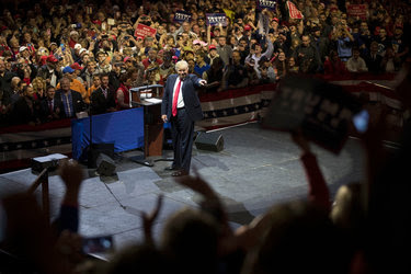President-elect Donald J. Trump greeted supporters at a rally on Thursday evening in Cincinnati.