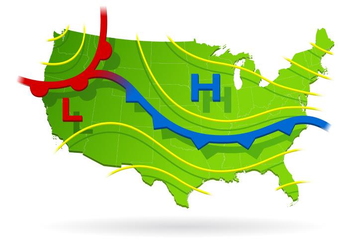 Un mapa meteorológico ilustrado de los EE. UU. Que muestra áreas de alta y baja presión