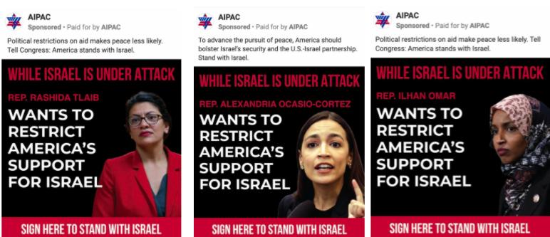 AIPAC ads targeting Alexandria Ocasio-Cortez, Ilhan Omar and Rashida Tlaib
