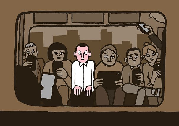 Satirical Illustrations Addiction to Technology5