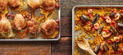 Sheet Pan Dinners- HERO IMAGE / Photo by Chelsea Kyle, Food Styling by Ali Nardi