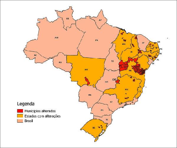 Onze estados do Brasil tiveram municípios com limites alterados pelo IBGE