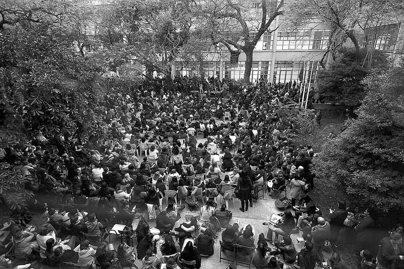 Asamblea de la Asociación de Maestros de Montevideo, ayer, en el Instituto de Profesores Artigas. Foto: Federico Gutiérrez