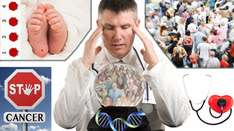 a doctor looking into a crystal ball filled with people and DNA surrounded by babys feet and bloodspots, a crowd, a stop sign for cancer and a heart