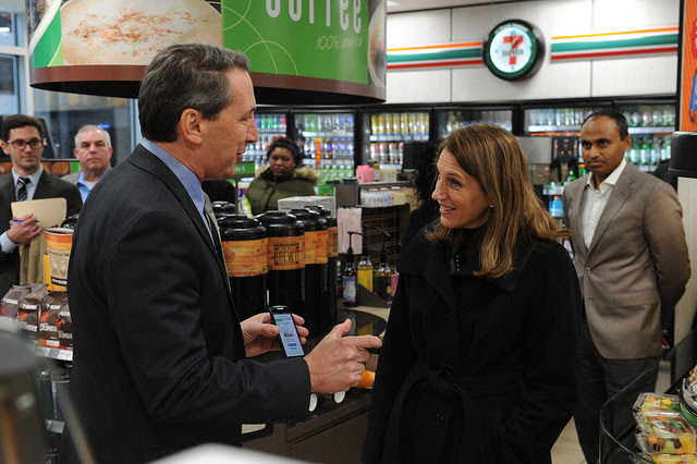 Secretary Burwell visits a 7-11 in Washington, D.C. to announce a partnership with PayNearMe.