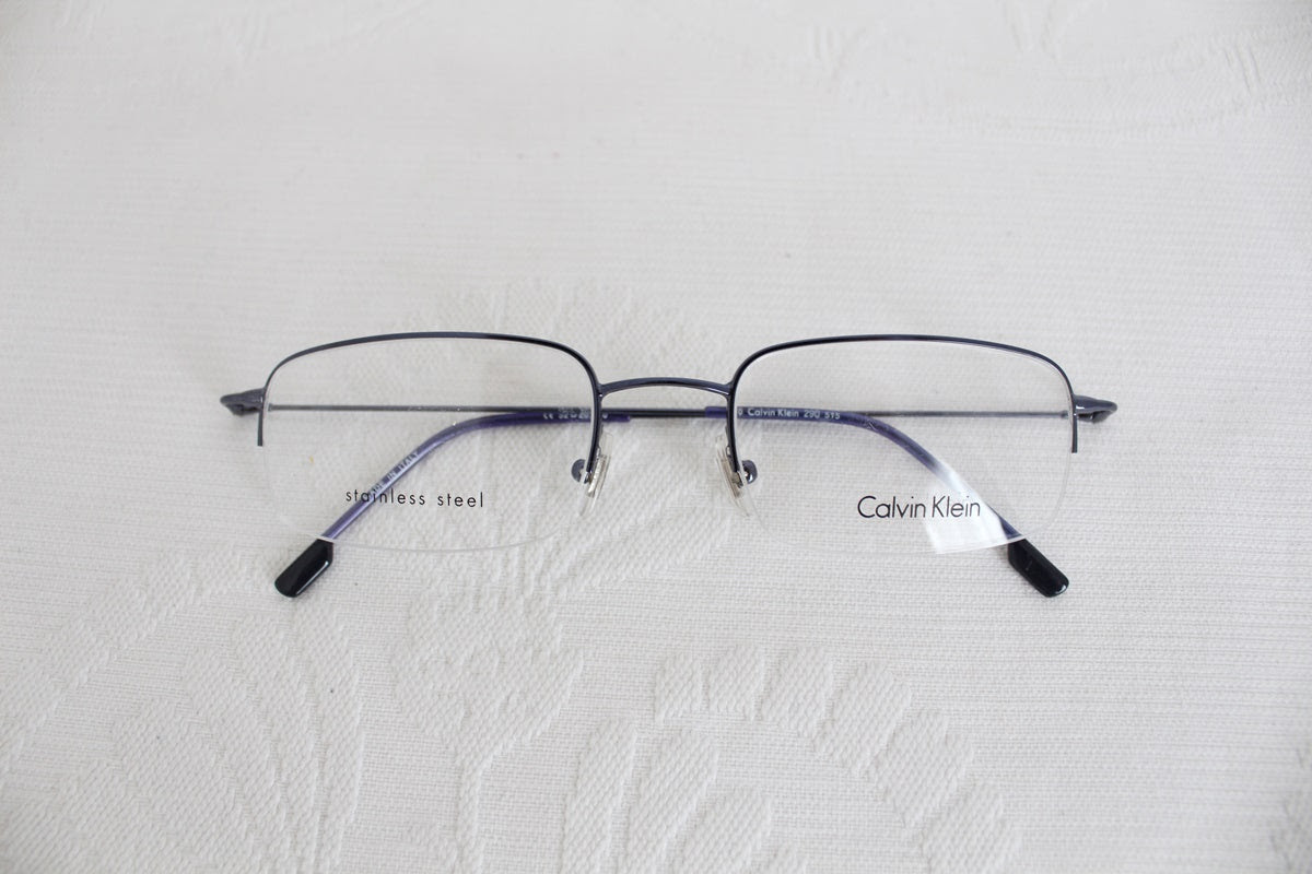 CALVIN KLEIN BLUE STAINLESS STEEL SPECTACLE FRAMES