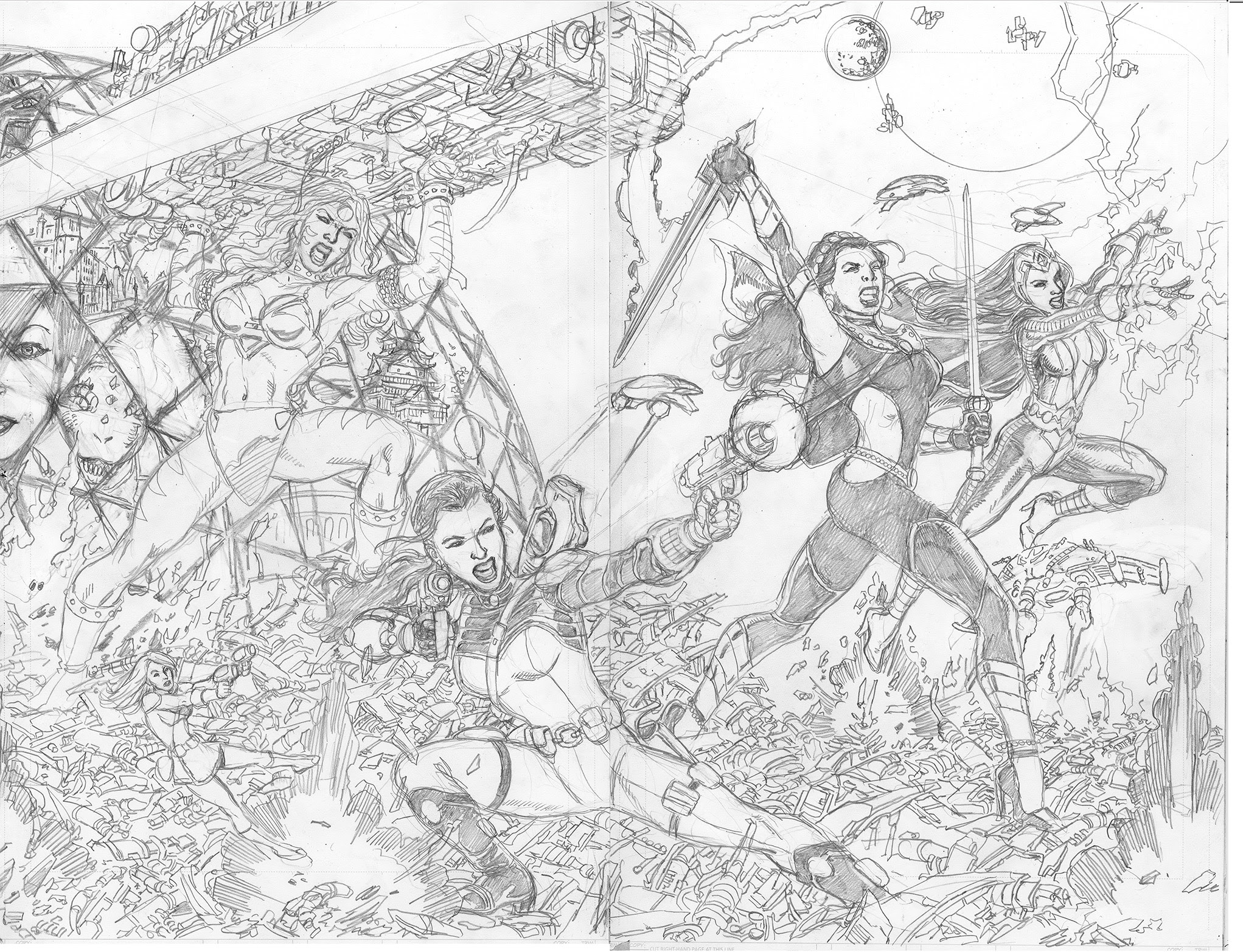 GEORGE PÉREZ'S SIRENS #1 Pencils Right-Side Cover C by George Pérez