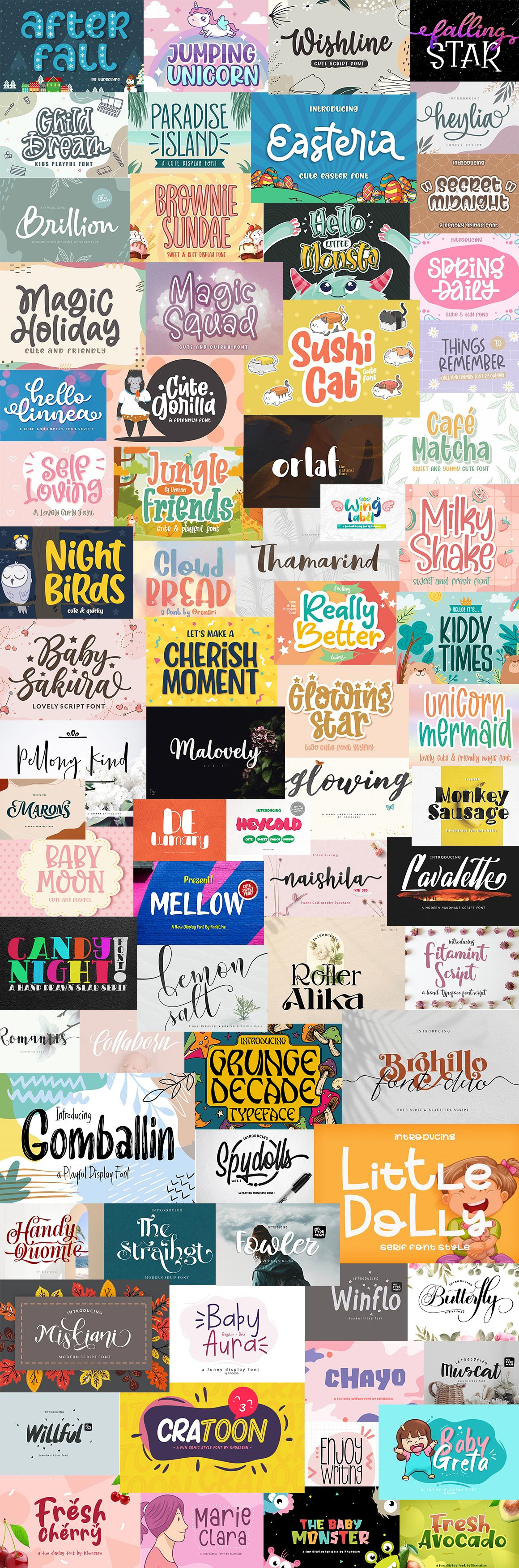 A Sneak Peek Into The Adorably Cute Fonts Collection bundle