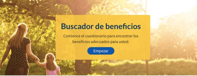 Buscador de beneficios: comience el cuestionario para encontrar los beneficios. Empezar