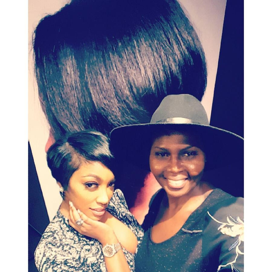 Portia Williams poses with hairstylist Razor Chic of Atlanta after receiving hair cut makeover.  Photo Credit: Razor Chic of Atlanta