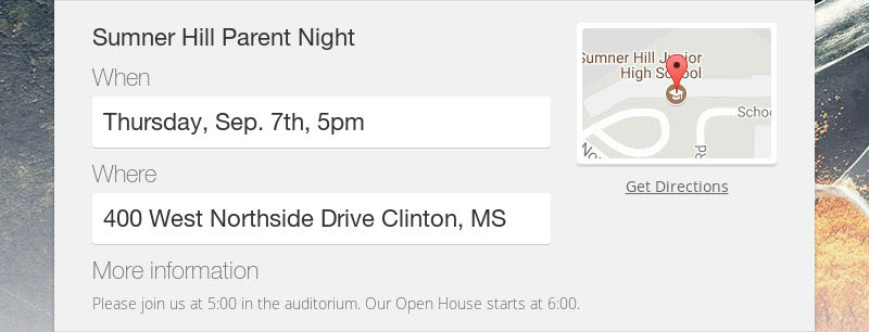 Sumner Hill Parent Night