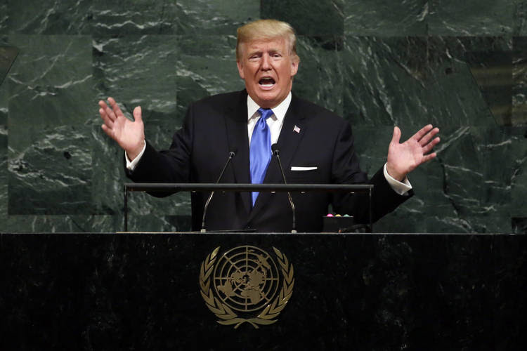 President Trump addresses the United Nations General Assembly on Tuesday. (Richard Drew/AP)