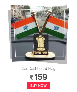 Flag Indian Flag With Satymev Jayte & Emblem Car Dashboard & Table Stand Double Sided Cross Flag Stand with Adhesive base
