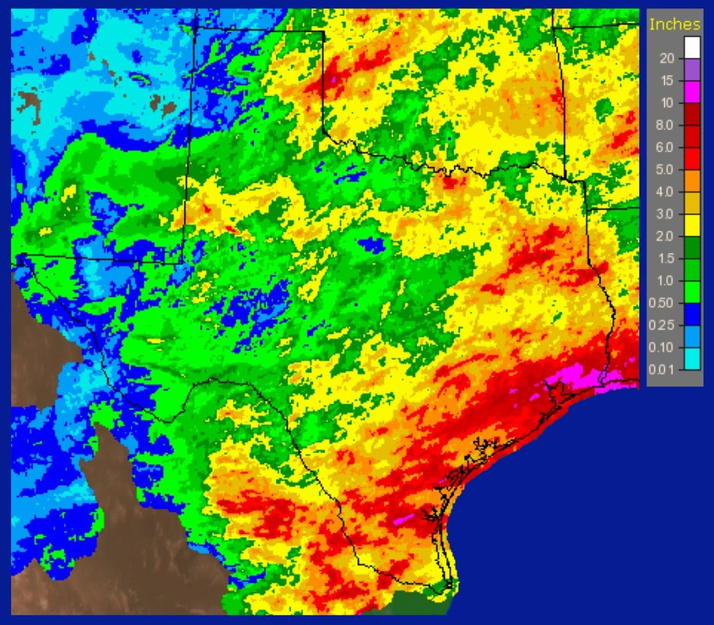 Nearly all of Texas continued to receive rain, with accumulations of 10 to 15 inches in some areas. (Graphic courtesy of the National Weather Service)